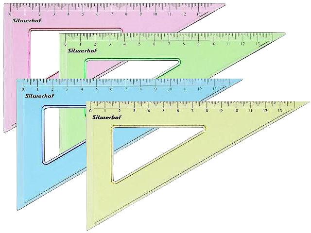 Треугольник 14 см 45*45*90 Silwerhof прозрачный цветной 540094