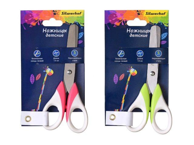 Ножницы детские 13 см Silwerhof Цветландия прорезиненные ручки 453087
