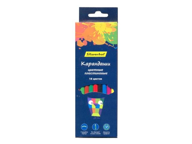 Карандаши цветные 18цв Silwerhof Цветландия шестигранные пластик 134212-18