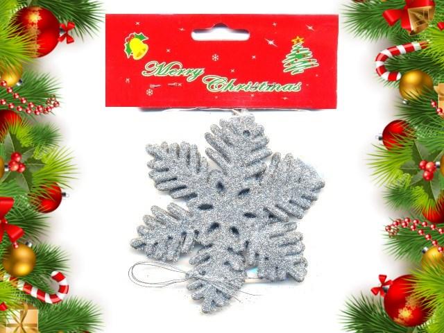 Новогодний декор Снежинка 10см 3шт серебро 181007-7