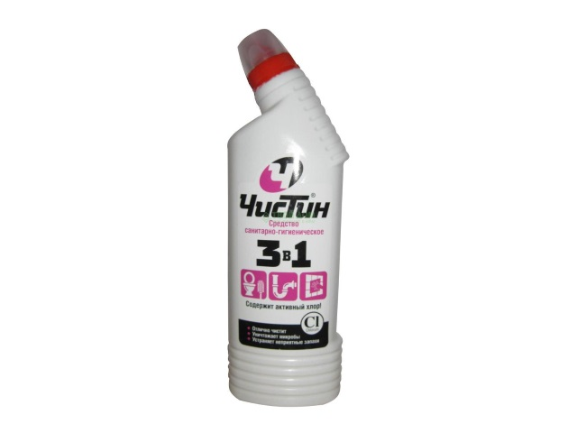 Моющее средство 750 мл Чистин 3 в 1 для сантехники с хлором