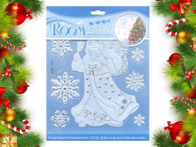 Наклейки для декора силикон 21*16 см Новогодние ассорти Room Decor 181001-10