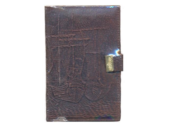 Ежедневник А6 кожа 120л на кнопке коричневый 574р-01ф