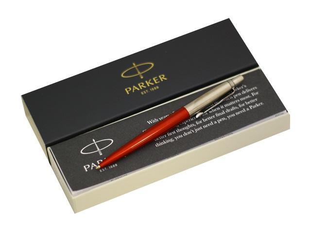 Ручка Parker шариковая автомат Jotter Core Kensington cиняя 1мм красный корпус 1953187