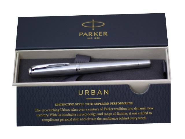 Ручка Parker роллер Urban Core черная 0.5мм серебристый корпус 1931588