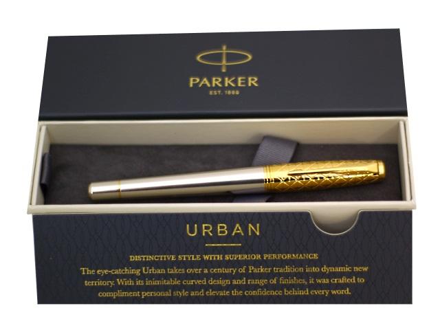 Ручка Parker роллер Urban Premium черная 1мм золото-серебряный корпус 1931574
