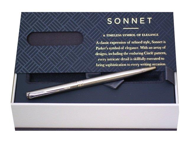 Ручка Parker шариковая поворотная Sonnet Slim черная 1мм серебристый корпус 1931513