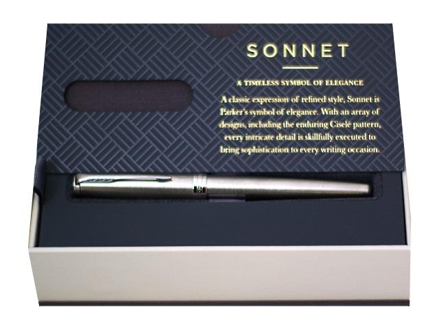 Ручка Parker роллер Sonnet Core черная 1мм серебристый корпус 413890