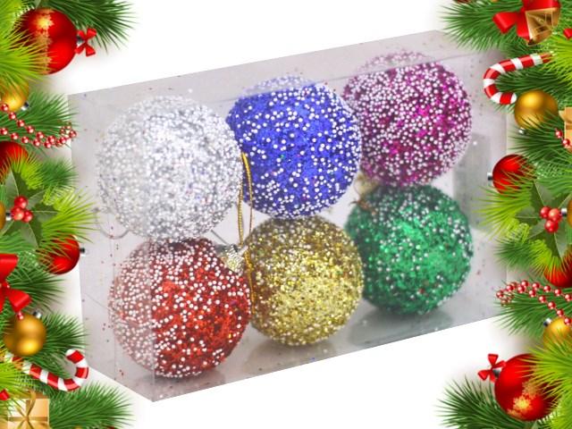 Ёлочная игрушка набор  6 шт. Шар D= 5.5см с блеском №42 разноцветные