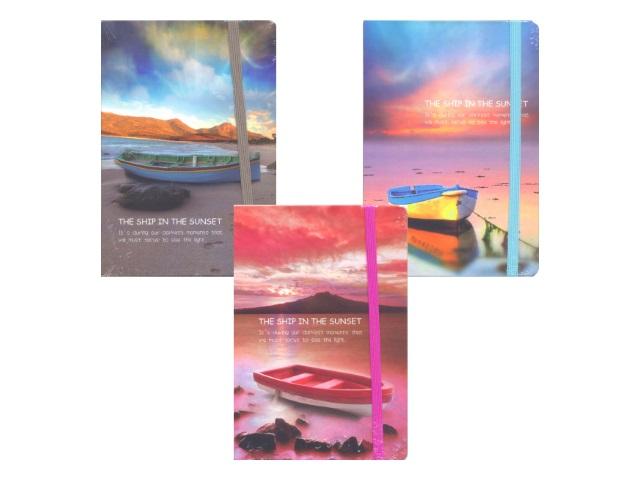 Записная книжка А5 на резинке тв/переплёт  96л Boat Mazari М-3661