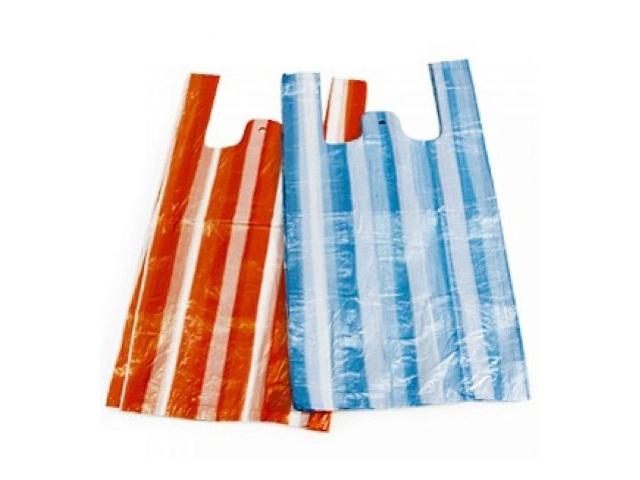 Пакеты майка 200 шт. 24+7*44 см Полоса прозрачный цветной Крымпласт 03/006