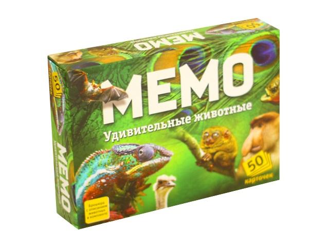 Настольная игра Мемо Удивительные животные 50 карточек Нескучные игры 7207