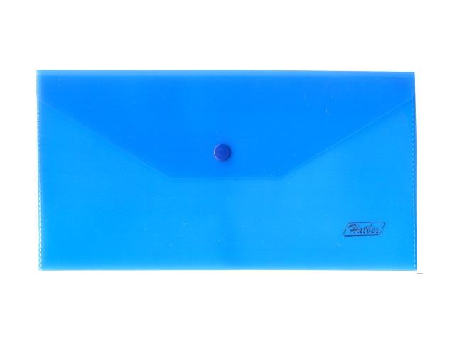 Папка конверт на кнопке А6 синяя прозрачная 180мкм Hatber АКк6_00002