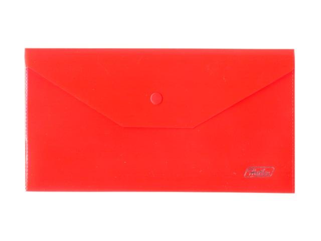 Папка конверт на кнопке А6 красная прозрачная 180мкм Hatber АКк6_00003