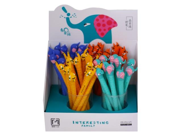 Ручка гелевая детская Basir Животные синяя 0.5мм 17103