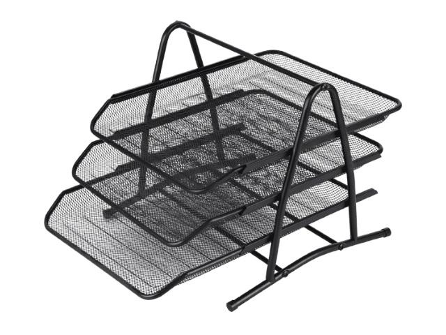 Лоток горизонтальный металл 3 отделения черный DeVente 3101703