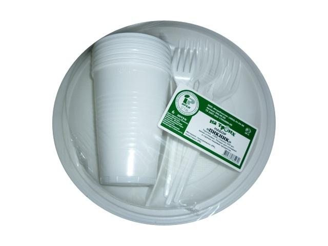 Набор пластиковой посуды на 6 персон Пикник