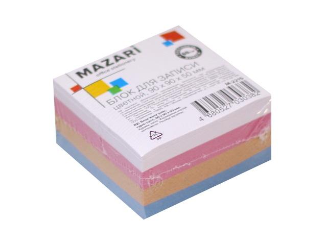 Блок бумажный цветной  90*90 мм 500л Mazari М-2215