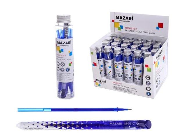 Ручка пиши-стирай Mazari Magestic T гелевая синяя 0.5мм + 9 стержней в колбе М-5310Т-70
