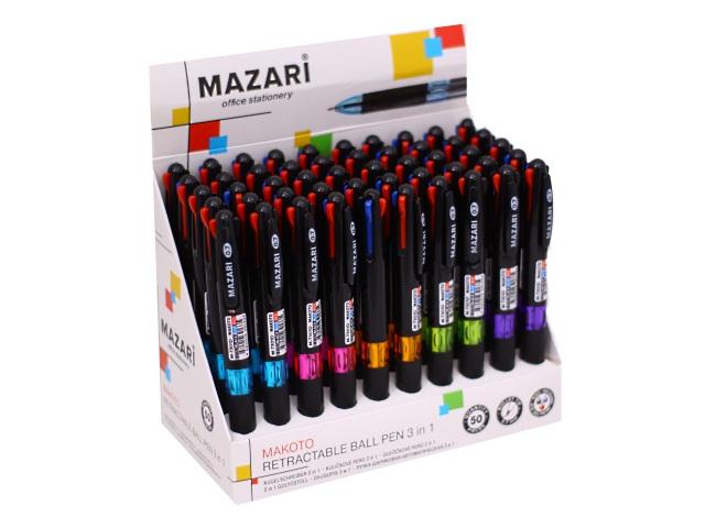 Ручка масляная автомат Mazari Makoto трехцветная 0.7мм M-7301D