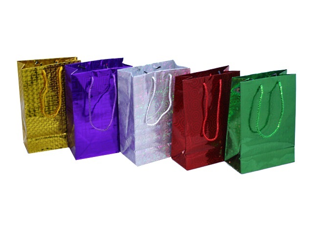 Пакет подарочный бумажный 21*30*11см Голография цветной Winter Wings  BG6682/W