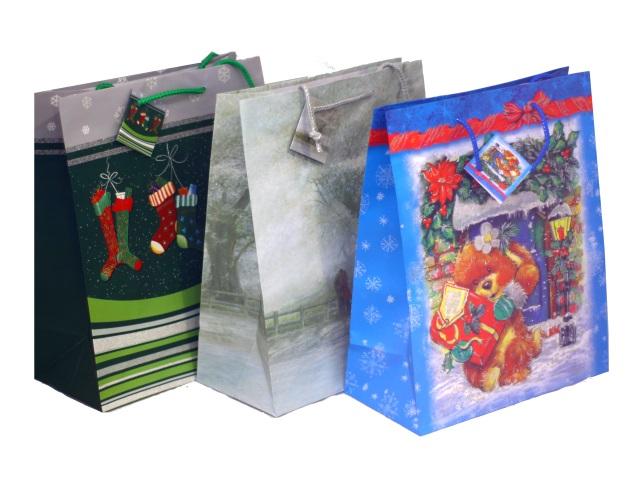 Пакет подарочный бумажный 26*32*13см Новогоднее ассорти Winter Wings BG13097/А