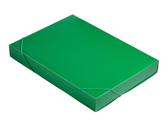 Папка архивная пластик на резинке А4  4см зеленая Бюрократ 816208