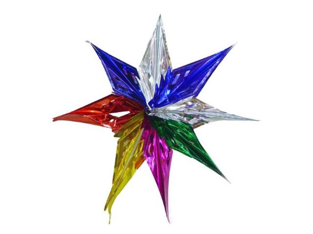 Новогодний декор Снежинка 57см цветная Новогодняя сказка 971020