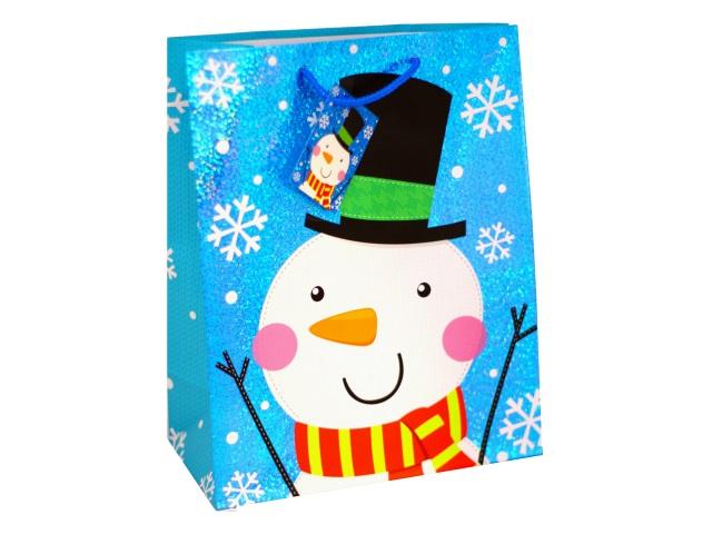 Пакет подарочный бумажный 26*32*13см Снеговик Winter Wings BG19055