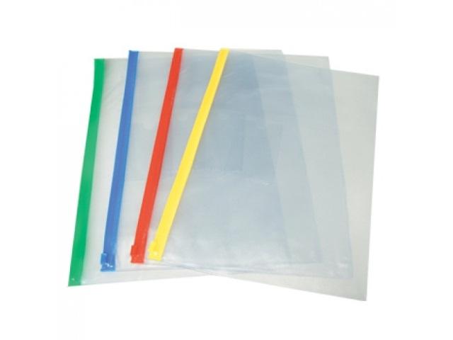 Папка на бегунке А4 с карманом прозрачная цветная 140мкм WM 052000900