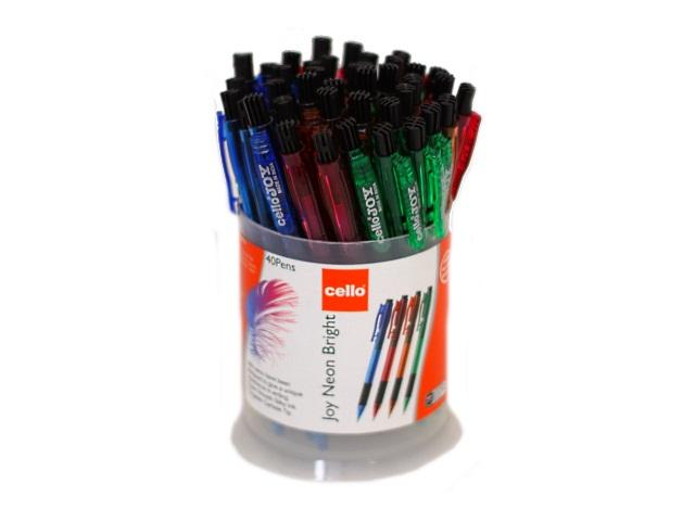Ручка масляная автомат Cello Joy Neon синяя 0.7мм