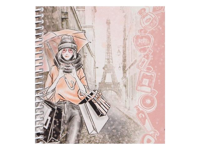 Скетчбук 13*14см 80л спираль 80 г/м2 Девушка с зонтом Miland Б80-8076