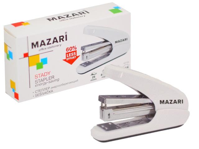 Степлер №24/6-26/6 25л Mazari пластик Stady белый энергосберегающий М-6915