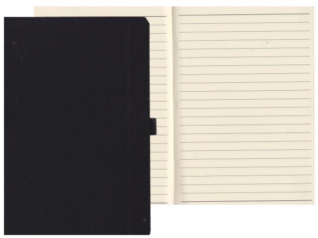 Записная книжка А5 на резинке бумвинил 72л линия Constant черный Mazari М-3645-71