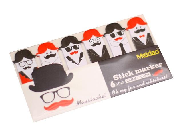 Стикер 20*45мм Mazari Moustache! 108л 6 цветов по 18л М-3674