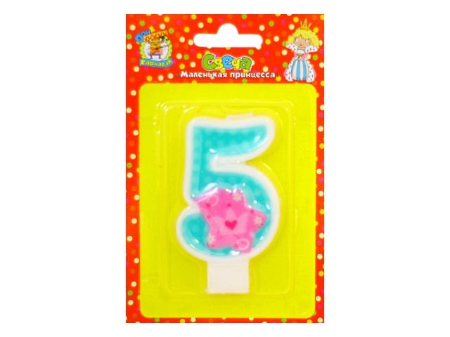 Свеча для торта Маленькая принцесса Цифра 5 Карнавал Miland С-0439