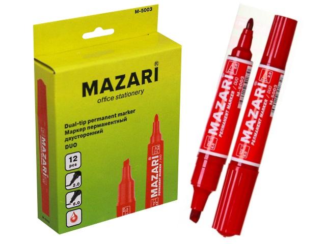 Маркер перманентный Mazari Duo красный 2-6мм двухсторонний М-5003