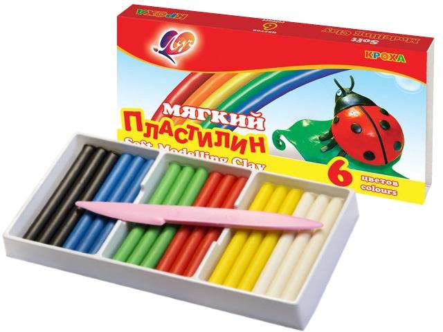 Пластилин  6 цветов Луч Кроха мягкий 100г 12С 863-08