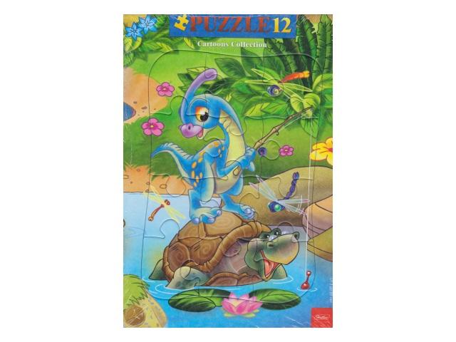 Пазлы в рамке Hatber 12 деталей Динозаврик 12ПЗ4_10421
