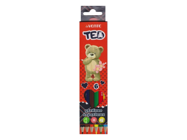 Карандаши цветные  6цв DeVente Мишка Ted шестигранные 5021800
