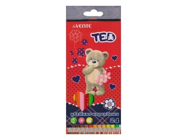 Карандаши цветные 24цв DeVente Мишка Ted шестигранные 5024800
