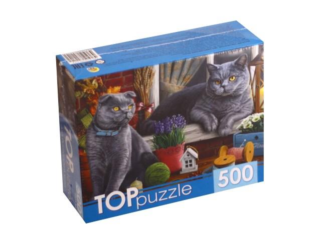 Пазлы  500 деталей TOPpuzzle Два британских кота ХТП500-4214