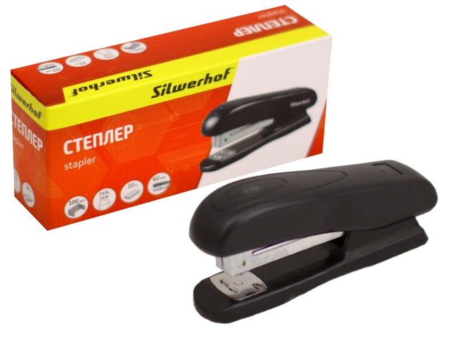 Степлер №24/6 20л пластик черный Silwerhof 401070-01