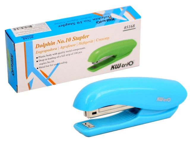 Степлер №10 10л KW-trio пластик Dolphin цветной 05168