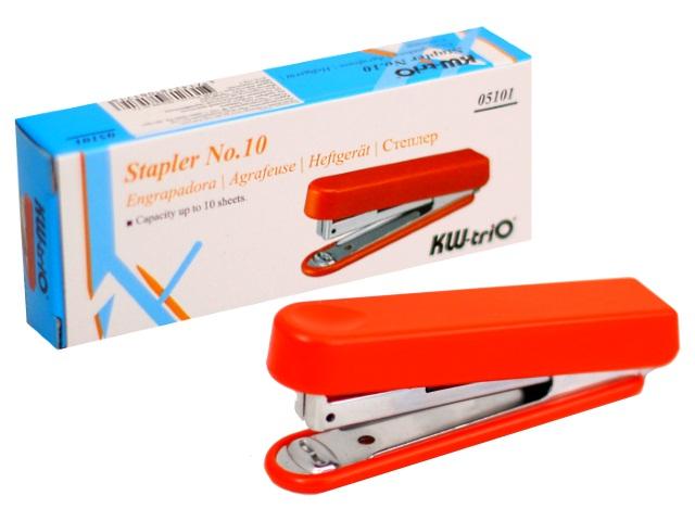 Степлер №10 10л KW-trio пластик цветной с антистеплером 05101