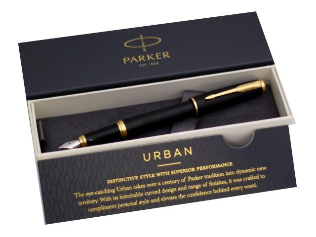 Ручка Parker перьевая Urban Core синяя капсула черный корпус 1931593