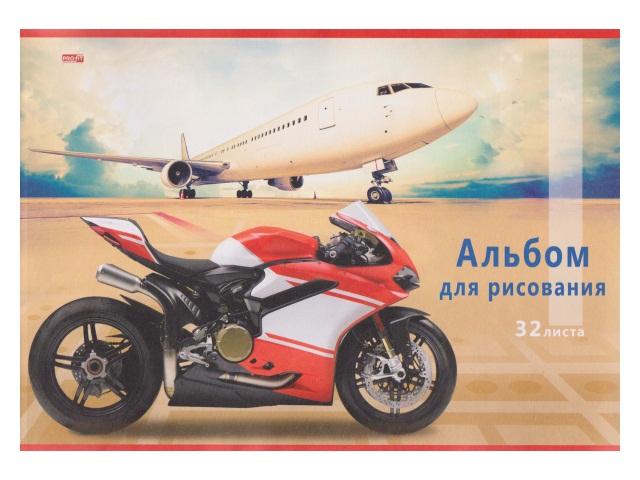 Альбом 32л А4 на скобах Мотоцикл и самолет-2 100 г/м2 Profit 32-6193