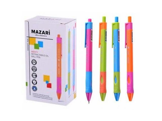 Ручка масляная автомат Mazari Menty синяя для левши 0.7мм M-5771L-70