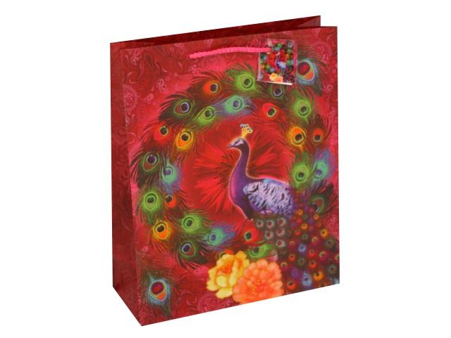 Пакет подарочный бумажный 32*26*10см Павлины Mazari M-2139