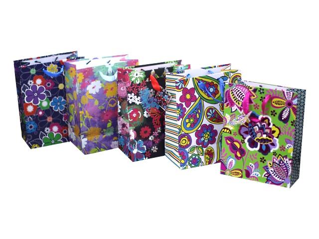 Пакет подарочный бумажный 18*23*10см Радужные краски Mazari M-8021